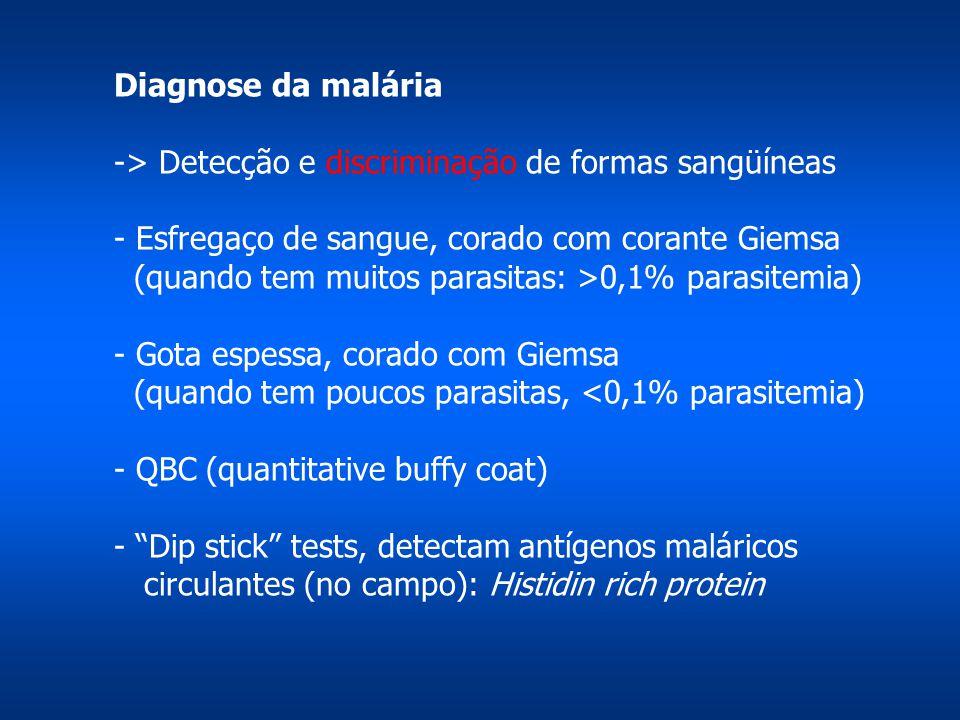 Diagnose da malária -> Detecção e discriminação de formas sangüíneas - Esfregaço de sangue, corado com corante Giemsa (quando tem muitos parasitas: >0,1% parasitemia) - Gota espessa, corado com Giemsa (quando tem poucos parasitas, <0,1% parasitemia) - QBC (quantitative buffy coat) - Dip stick tests, detectam antígenos maláricos circulantes (no campo): Histidin rich protein
