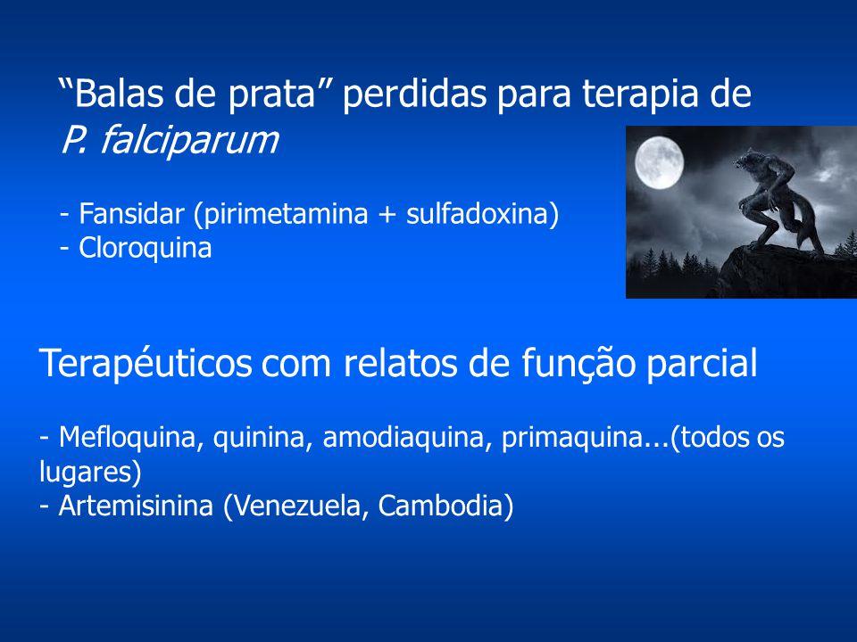 """""""Balas de prata"""" perdidas para terapia de P. falciparum - Fansidar (pirimetamina + sulfadoxina) - Cloroquina Terapéuticos com relatos de função parcia"""