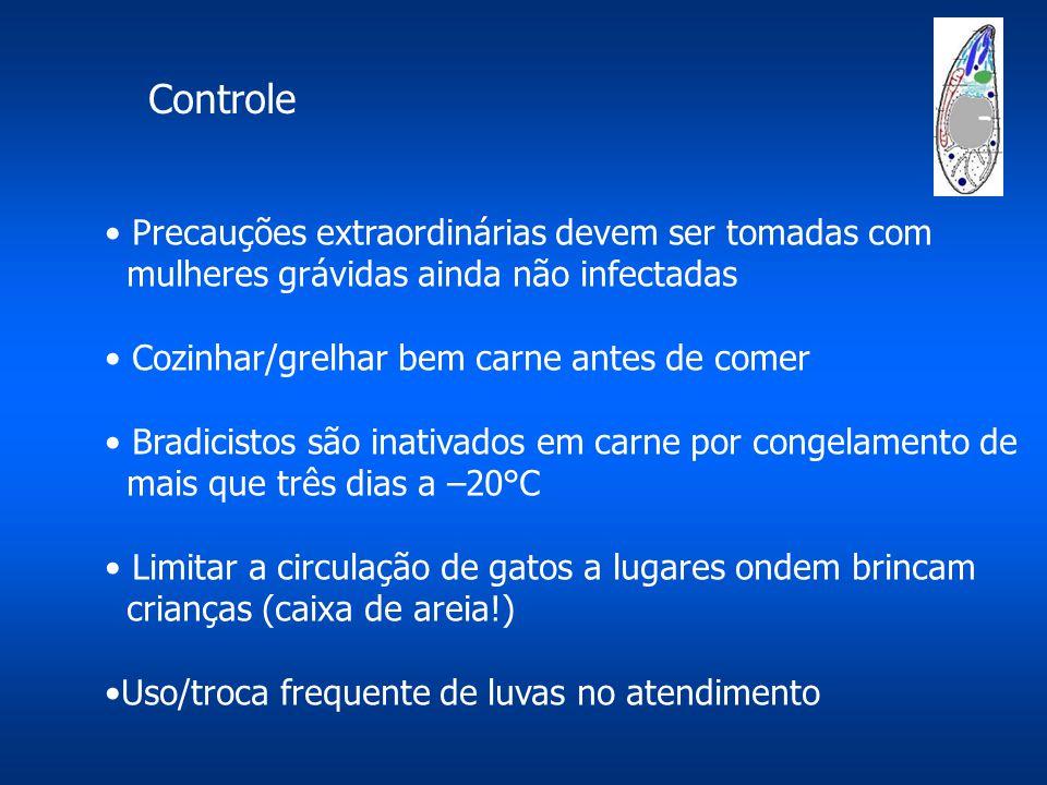 Precauções extraordinárias devem ser tomadas com mulheres grávidas ainda não infectadas Cozinhar/grelhar bem carne antes de comer Bradicistos são inat