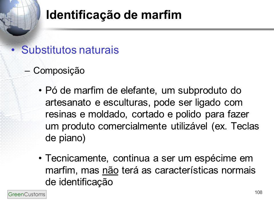 108 Identificação de marfim Substitutos naturais –Composição Pó de marfim de elefante, um subproduto do artesanato e esculturas, pode ser ligado com r