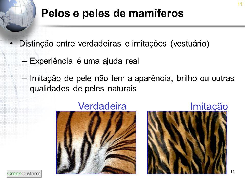 11 Pelos e peles de mamíferos Distinção entre verdadeiras e imitações (vestuário) –Experiência é uma ajuda real –Imitação de pele não tem a aparência,