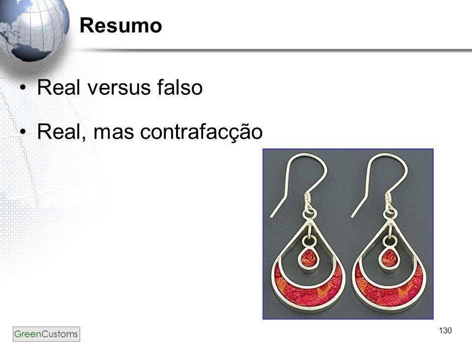 130 Resumo Real versus falso Real, mas contrafacção