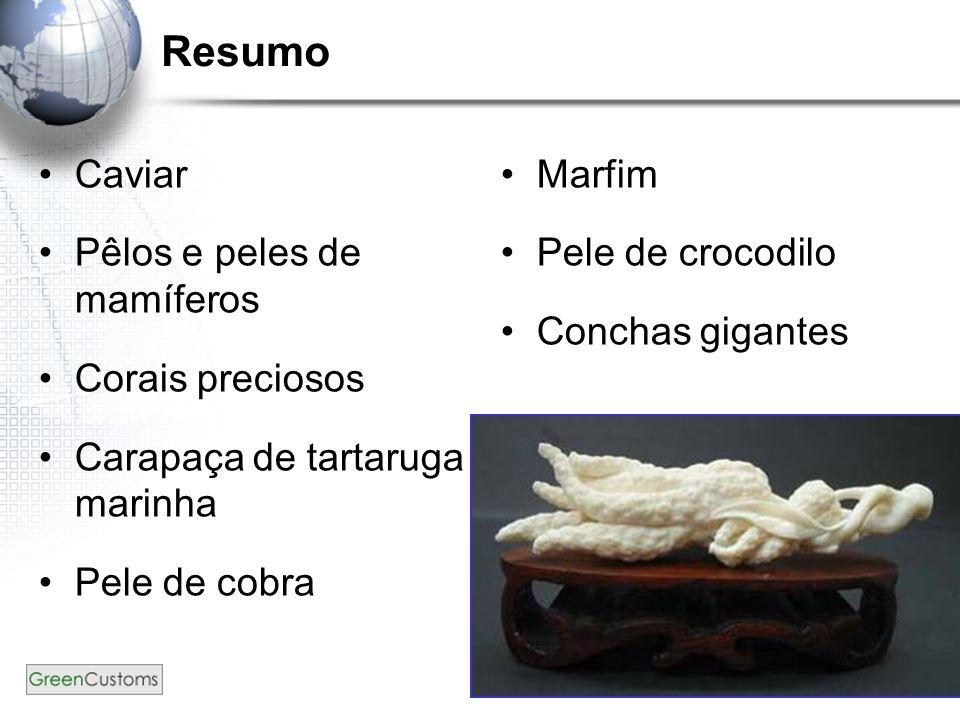 131 Resumo Caviar Pêlos e peles de mamíferos Corais preciosos Carapaça de tartaruga marinha Pele de cobra Marfim Pele de crocodilo Conchas gigantes