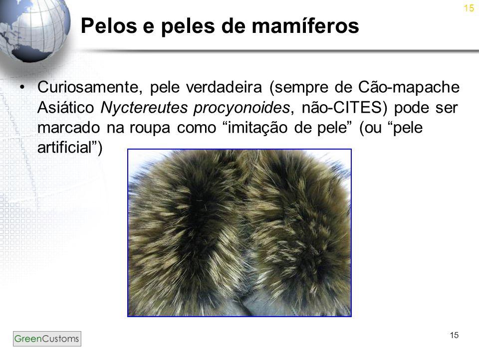 15 Pelos e peles de mamíferos Curiosamente, pele verdadeira (sempre de Cão-mapache Asiático Nyctereutes procyonoides, não-CITES) pode ser marcado na r