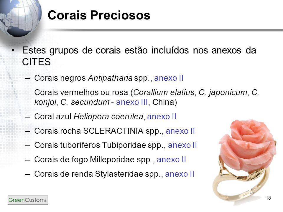 18 Corais Preciosos Estes grupos de corais estão incluídos nos anexos da CITES –Corais negros Antipatharia spp., anexo II –Corais vermelhos ou rosa (C