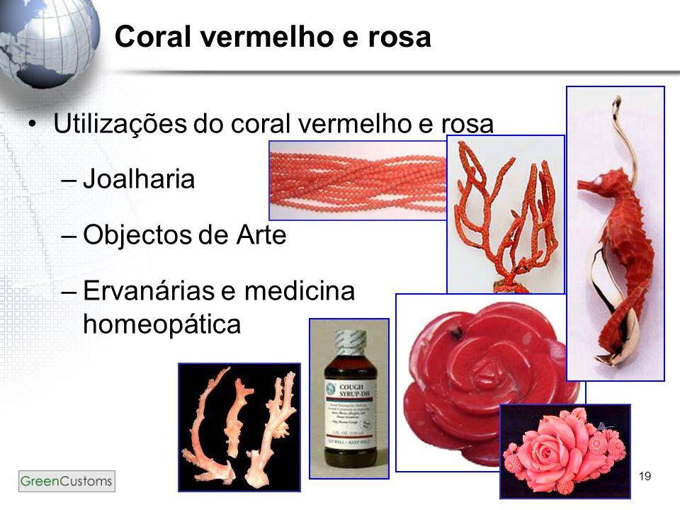 19 Utilizações do coral vermelho e rosa –Joalharia –Objectos de Arte –Ervanárias e medicina homeopática Coral vermelho e rosa