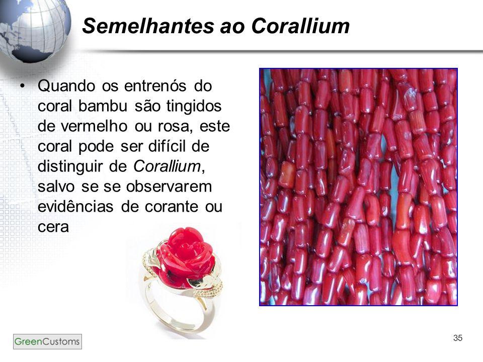 35 Semelhantes ao Corallium Quando os entrenós do coral bambu são tingidos de vermelho ou rosa, este coral pode ser difícil de distinguir de Corallium