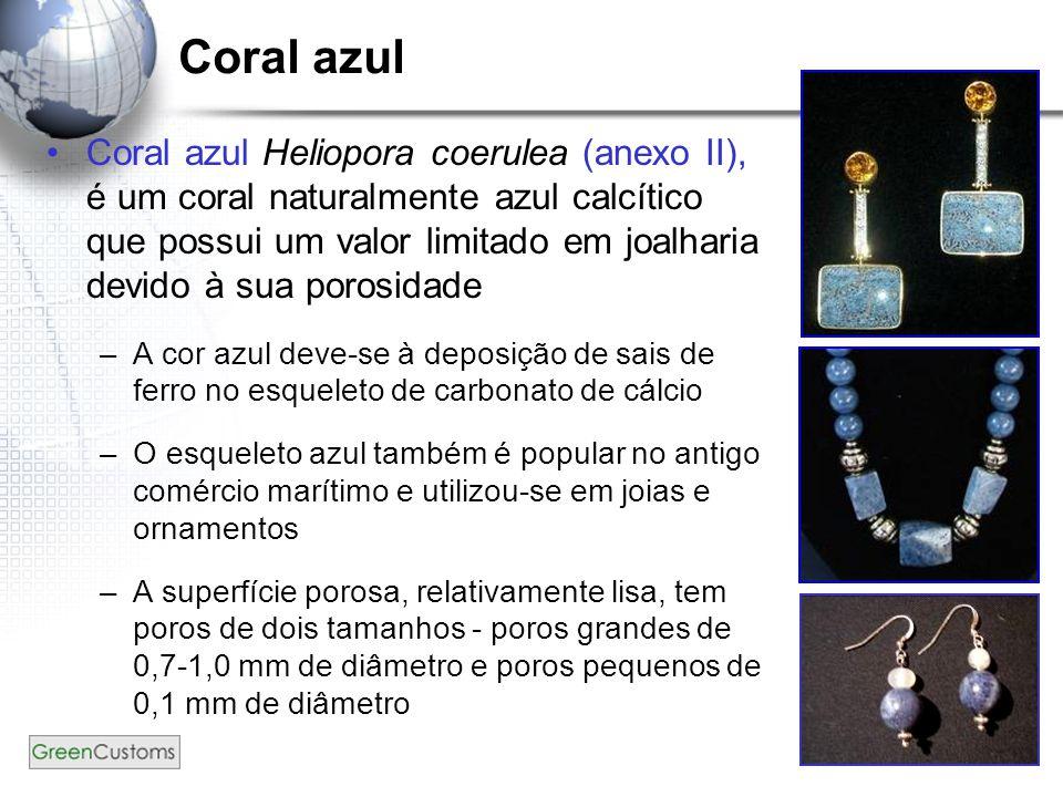 39 Coral azul Coral azul Heliopora coerulea (anexo II), é um coral naturalmente azul calcítico que possui um valor limitado em joalharia devido à sua