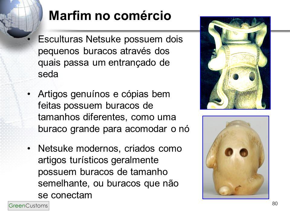80 Marfim no comércio Esculturas Netsuke possuem dois pequenos buracos através dos quais passa um entrançado de seda Artigos genuínos e cópias bem fei