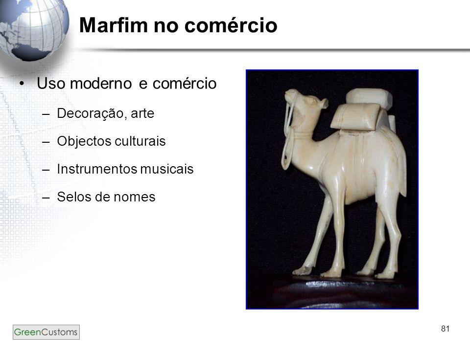 81 Marfim no comércio Uso moderno e comércio –Decoração, arte –Objectos culturais –Instrumentos musicais –Selos de nomes