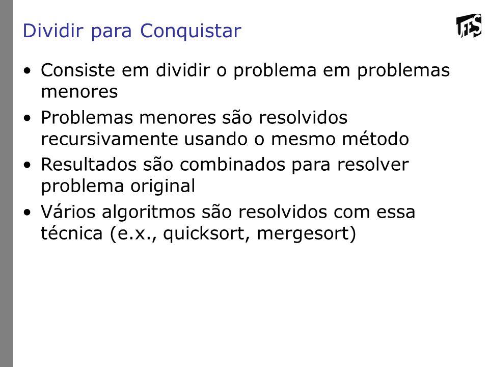 Dividir para Conquistar Consiste em dividir o problema em problemas menores Problemas menores são resolvidos recursivamente usando o mesmo método Resultados são combinados para resolver problema original Vários algoritmos são resolvidos com essa técnica (e.x., quicksort, mergesort)