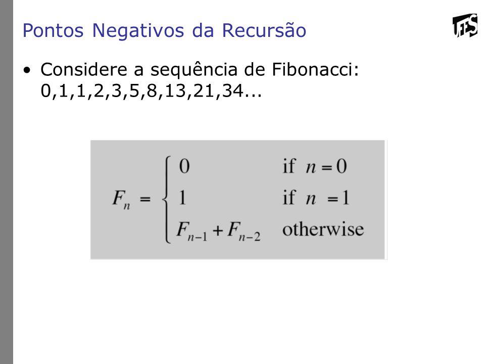 Pontos Negativos da Recursão Considere a sequência de Fibonacci: 0,1,1,2,3,5,8,13,21,34...