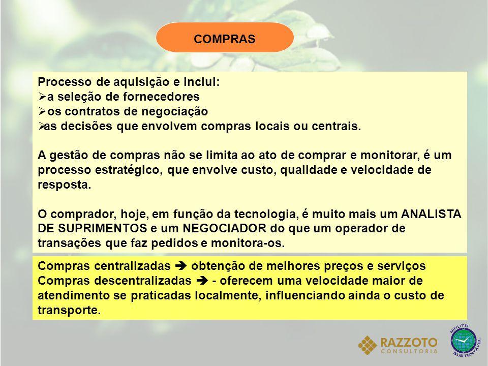 Processo de aquisição e inclui:  a seleção de fornecedores  os contratos de negociação  as decisões que envolvem compras locais ou centrais. A gest