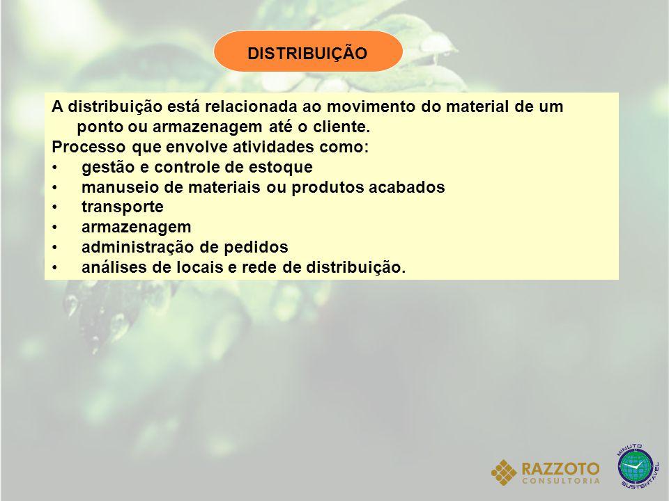 A distribuição está relacionada ao movimento do material de um ponto ou armazenagem até o cliente. Processo que envolve atividades como: gestão e cont