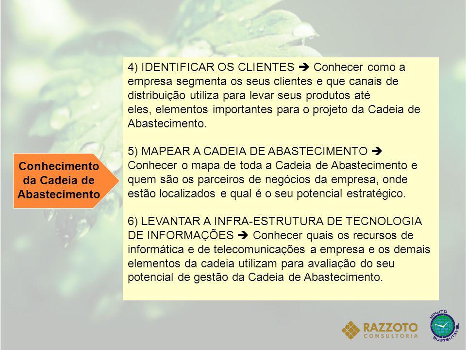 Conhecimento da Cadeia de Abastecimento 4) IDENTIFICAR OS CLIENTES  Conhecer como a empresa segmenta os seus clientes e que canais de distribuição ut