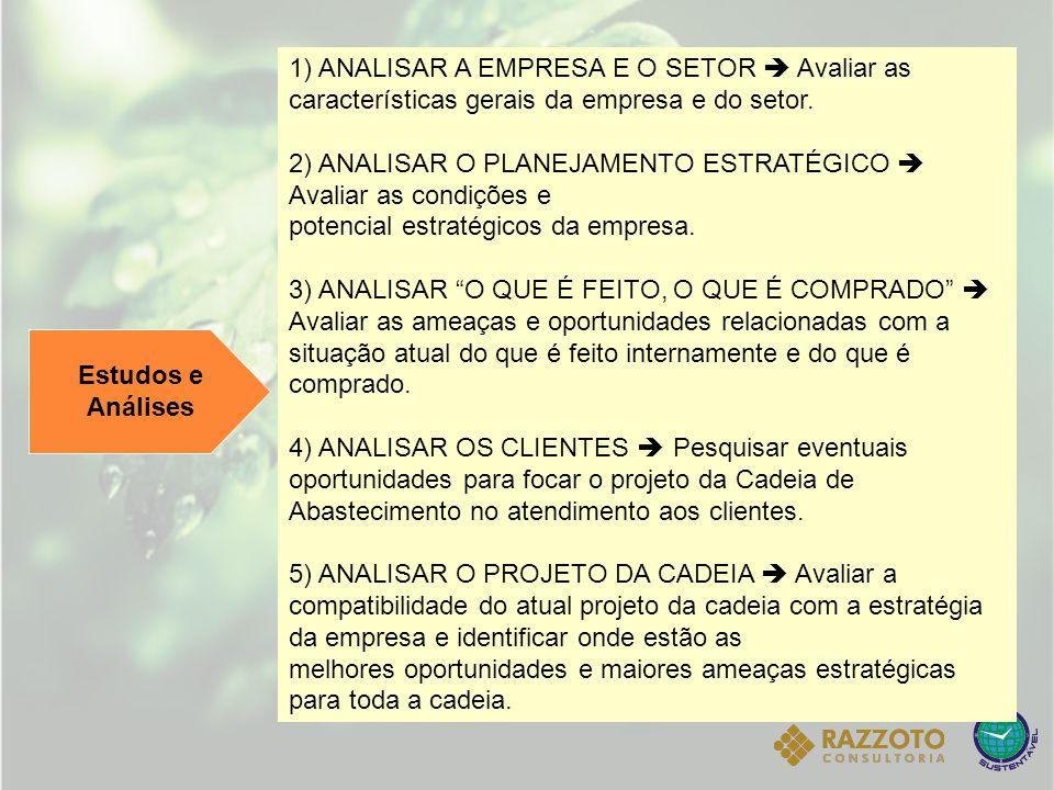 Estudos e Análises 1) ANALISAR A EMPRESA E O SETOR  Avaliar as características gerais da empresa e do setor. 2) ANALISAR O PLANEJAMENTO ESTRATÉGICO 