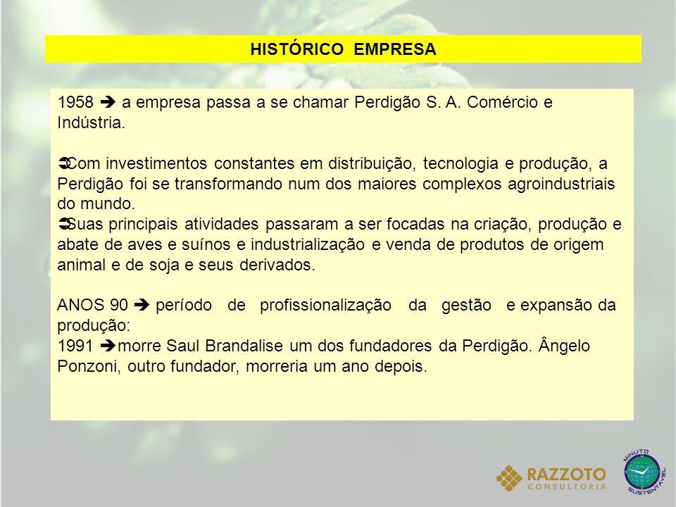 1958  a empresa passa a se chamar Perdigão S. A. Comércio e Indústria.  Com investimentos constantes em distribuição, tecnologia e produção, a Perdi