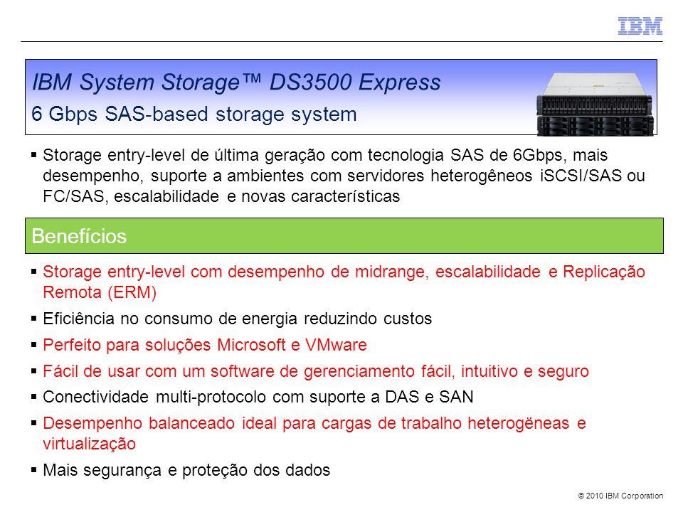 © 2010 IBM Corporation IBM System Storage™ DS3500 Express 6 Gbps SAS-based storage system  Storage entry-level de última geração com tecnologia SAS de 6Gbps, mais desempenho, suporte a ambientes com servidores heterogêneos iSCSI/SAS ou FC/SAS, escalabilidade e novas características  Storage entry-level com desempenho de midrange, escalabilidade e Replicação Remota (ERM)  Eficiência no consumo de energia reduzindo custos  Perfeito para soluções Microsoft e VMware  Fácil de usar com um software de gerenciamento fácil, intuitivo e seguro  Conectividade multi-protocolo com suporte a DAS e SAN  Desempenho balanceado ideal para cargas de trabalho heterogëneas e virtualização  Mais segurança e proteção dos dados Benefícios