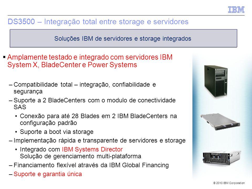 © 2010 IBM Corporation DS3500 – Integração total entre storage e servidores  Amplamente testado e integrado com servidores IBM System X, BladeCenter e Power Systems –Compatibilidade total – integração, confiabilidade e segurança –Suporte a 2 BladeCenters com o modulo de conectividade SAS Conexão para até 28 Blades em 2 IBM BladeCenters na configuração padrão Suporte a boot via storage –Implementação rápida e transparente de servidores e storage Integrado com IBM Systems Director Solução de gerenciamento multi-plataforma –Financiamento flexível através da IBM Global Financing –Suporte e garantia única Soluções IBM de servidores e storage integrados