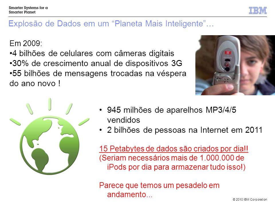 © 2010 IBM Corporation Explosão de Dados em um Planeta Mais Inteligente … Em 2009: 4 bilhões de celulares com câmeras digitais 30% de crescimento anual de dispositivos 3G 55 bilhões de mensagens trocadas na véspera do ano novo .