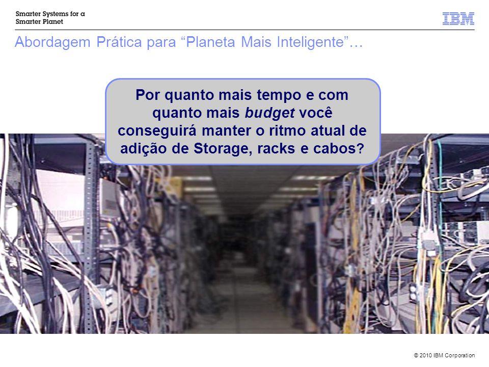 © 2010 IBM Corporation Abordagem Prática para Planeta Mais Inteligente … Por quanto mais tempo e com quanto mais budget você conseguirá manter o ritmo atual de adição de Storage, racks e cabos ?
