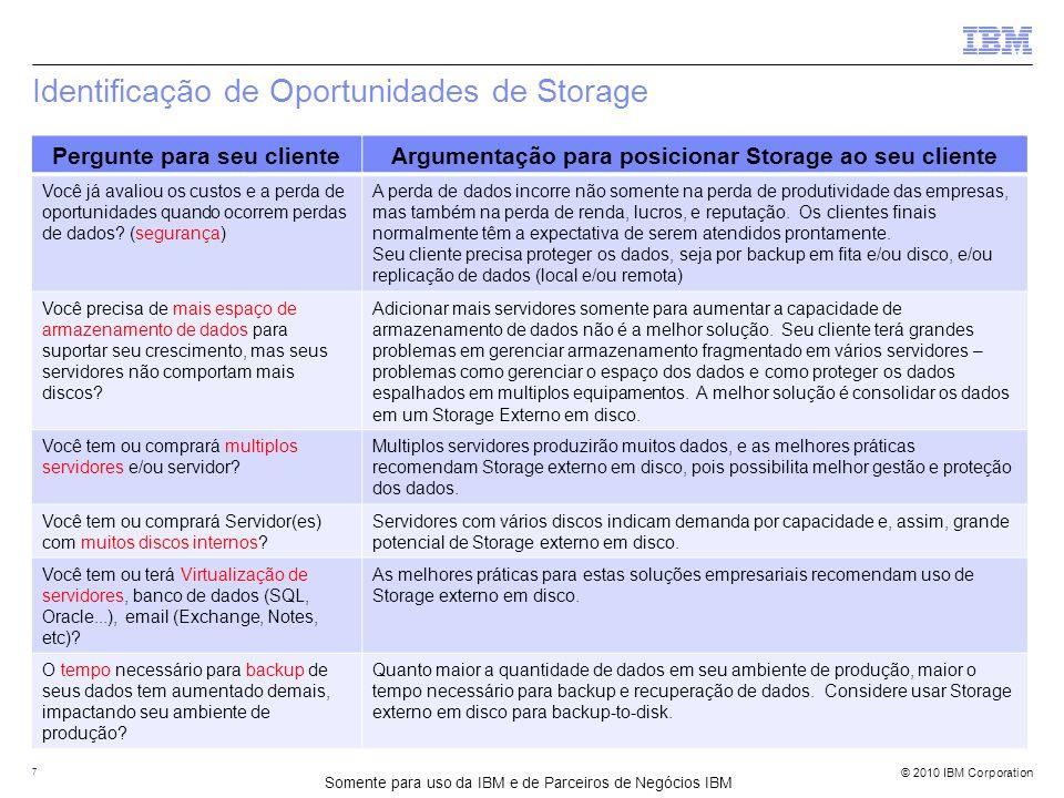 © 2010 IBM Corporation Identificação de Oportunidades de Storage 7 Pergunte para seu clienteArgumentação para posicionar Storage ao seu cliente Você já avaliou os custos e a perda de oportunidades quando ocorrem perdas de dados.