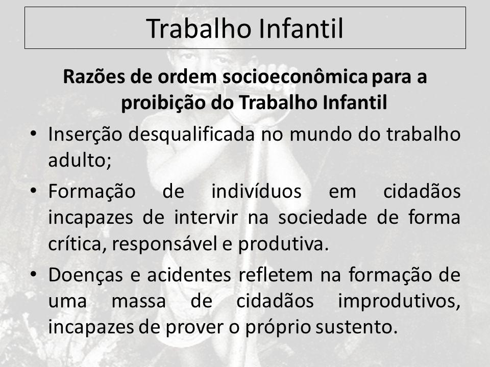 Trabalho Infantil Razões de ordem socioeconômica para a proibição do Trabalho Infantil Inserção desqualificada no mundo do trabalho adulto; Formação d