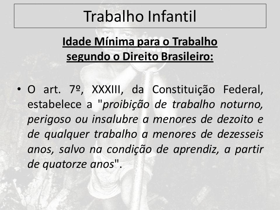 Trabalho Infantil Idade Mínima para o Trabalho segundo o Direito Brasileiro: O art. 7º, XXXIII, da Constituição Federal, estabelece a