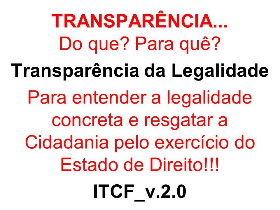 TRANSPARÊNCIA... Do que? Para quê? Transparência da Legalidade Para entender a legalidade concreta e resgatar a Cidadania pelo exercício do Estado de