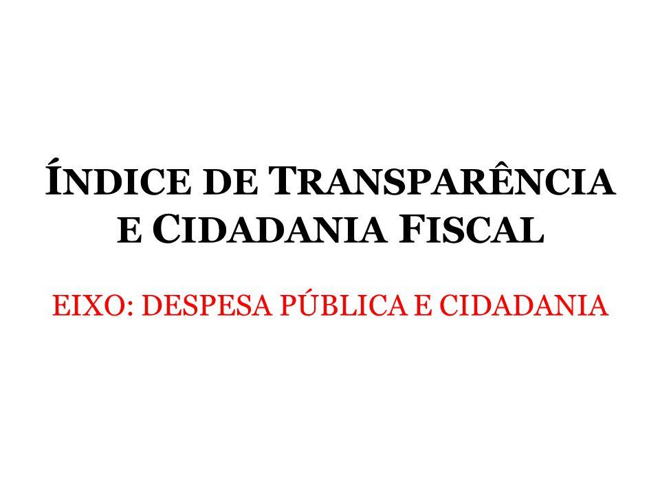 Í NDICE DE T RANSPARÊNCIA E C IDADANIA F ISCAL EIXO: DESPESA PÚBLICA E CIDADANIA