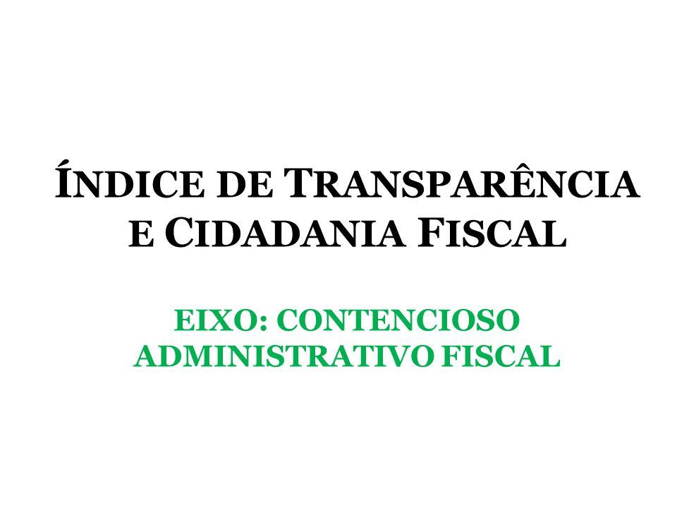 Í NDICE DE T RANSPARÊNCIA E C IDADANIA F ISCAL EIXO: CONTENCIOSO ADMINISTRATIVO FISCAL