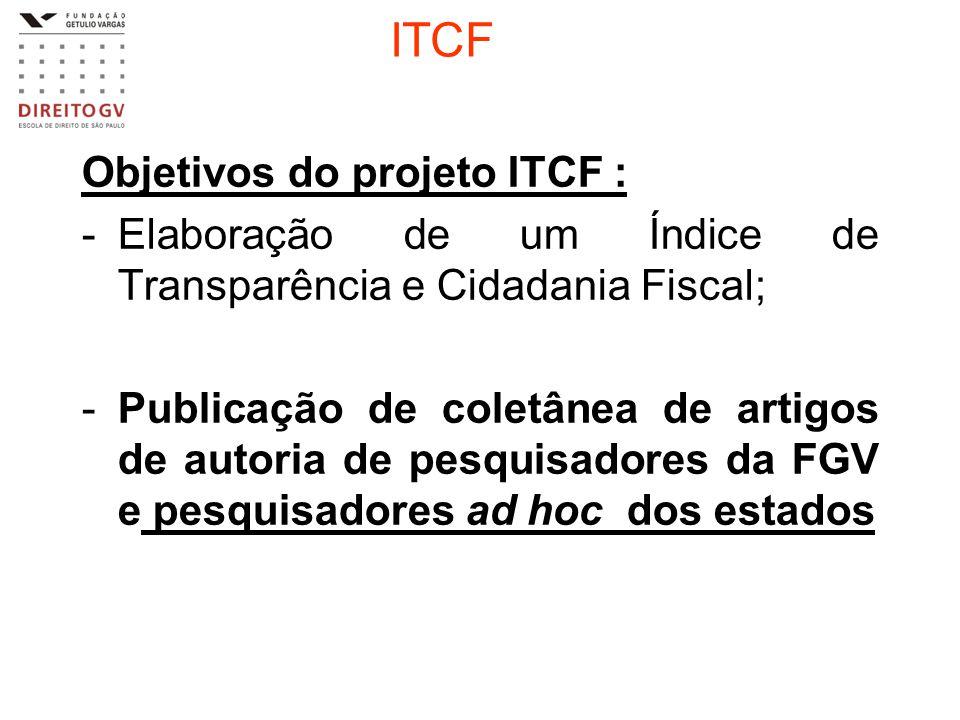 ITCF Objetivos do projeto ITCF : -Elaboração de um Índice de Transparência e Cidadania Fiscal; -Publicação de coletânea de artigos de autoria de pesqu