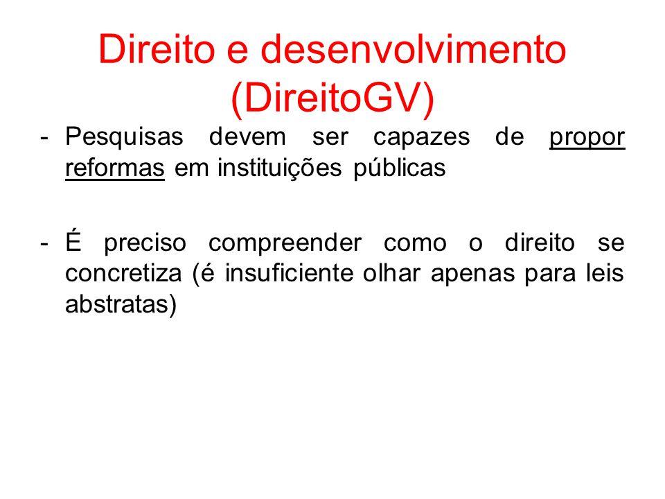 Direito e desenvolvimento (DireitoGV) -Pesquisas devem ser capazes de propor reformas em instituições públicas -É preciso compreender como o direito s