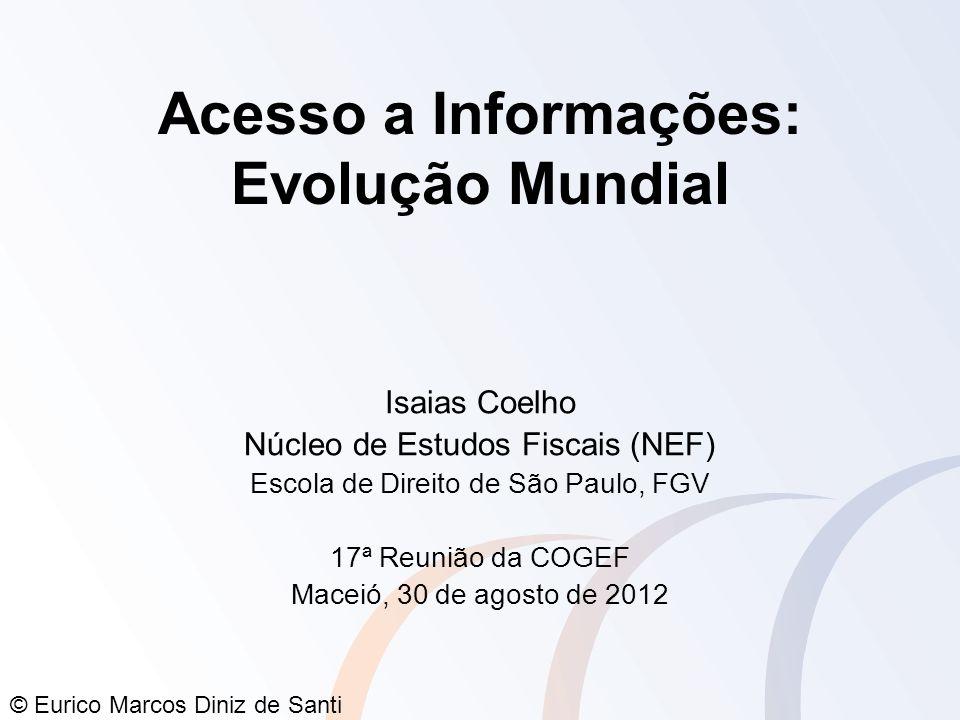 © Eurico Marcos Diniz de Santi Acesso a Informações: Evolução Mundial Isaias Coelho Núcleo de Estudos Fiscais (NEF) Escola de Direito de São Paulo, FG