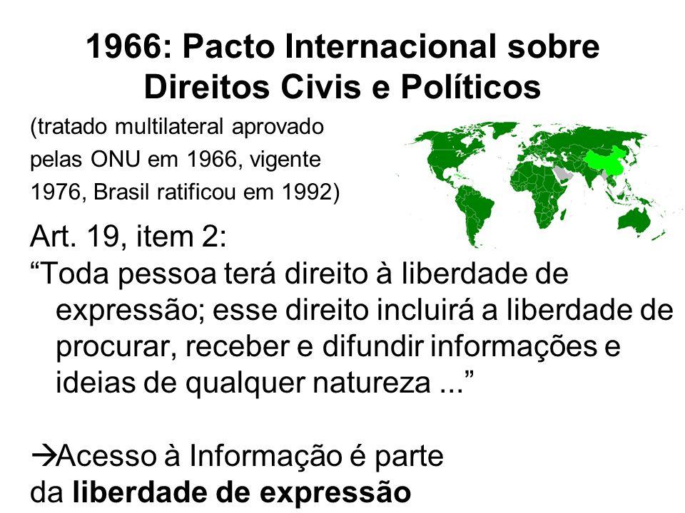 1966: Pacto Internacional sobre Direitos Civis e Políticos (tratado multilateral aprovado pelas ONU em 1966, vigente 1976, Brasil ratificou em 1992) A
