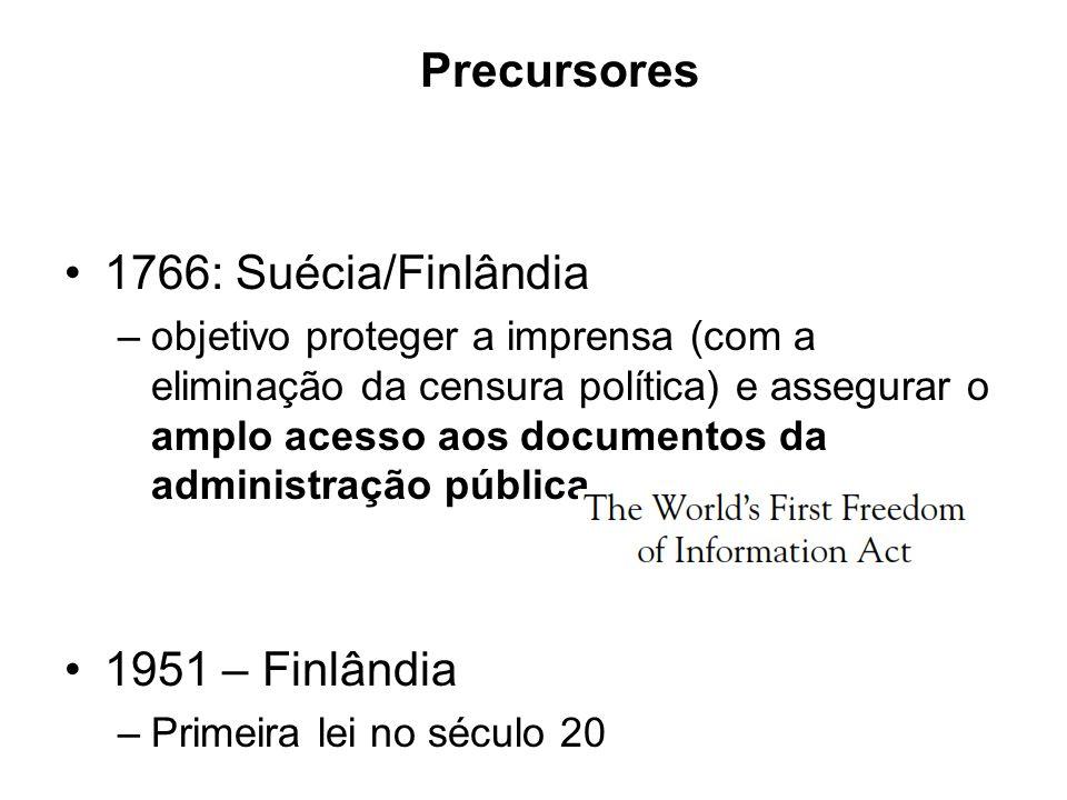 Precursores 1766: Suécia/Finlândia –objetivo proteger a imprensa (com a eliminação da censura política) e assegurar o amplo acesso aos documentos da a