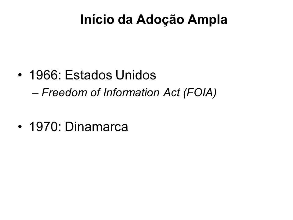 Início da Adoção Ampla 1966: Estados Unidos –Freedom of Information Act (FOIA) 1970: Dinamarca