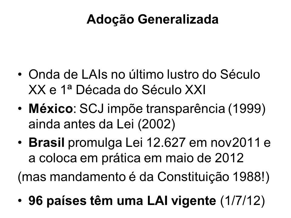 Adoção Generalizada Onda de LAIs no último lustro do Século XX e 1ª Década do Século XXI México: SCJ impõe transparência (1999) ainda antes da Lei (20
