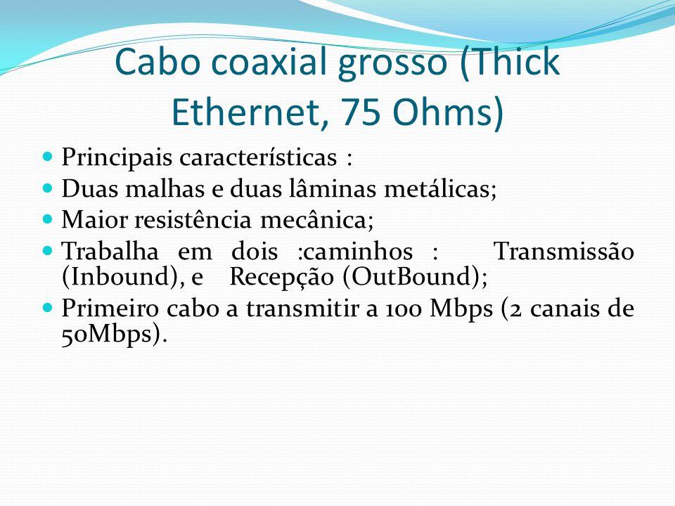 Principais características : Duas malhas e duas lâminas metálicas; Maior resistência mecânica; Trabalha em dois :caminhos : Transmissão (Inbound), e Recepção (OutBound); Primeiro cabo a transmitir a 100 Mbps (2 canais de 50Mbps).