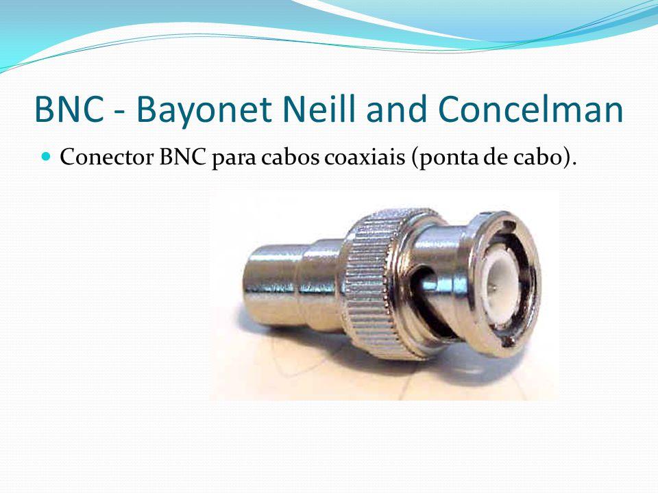 BNC - Bayonet Neill and Concelman Conector BNC para cabos coaxiais (ponta de cabo).