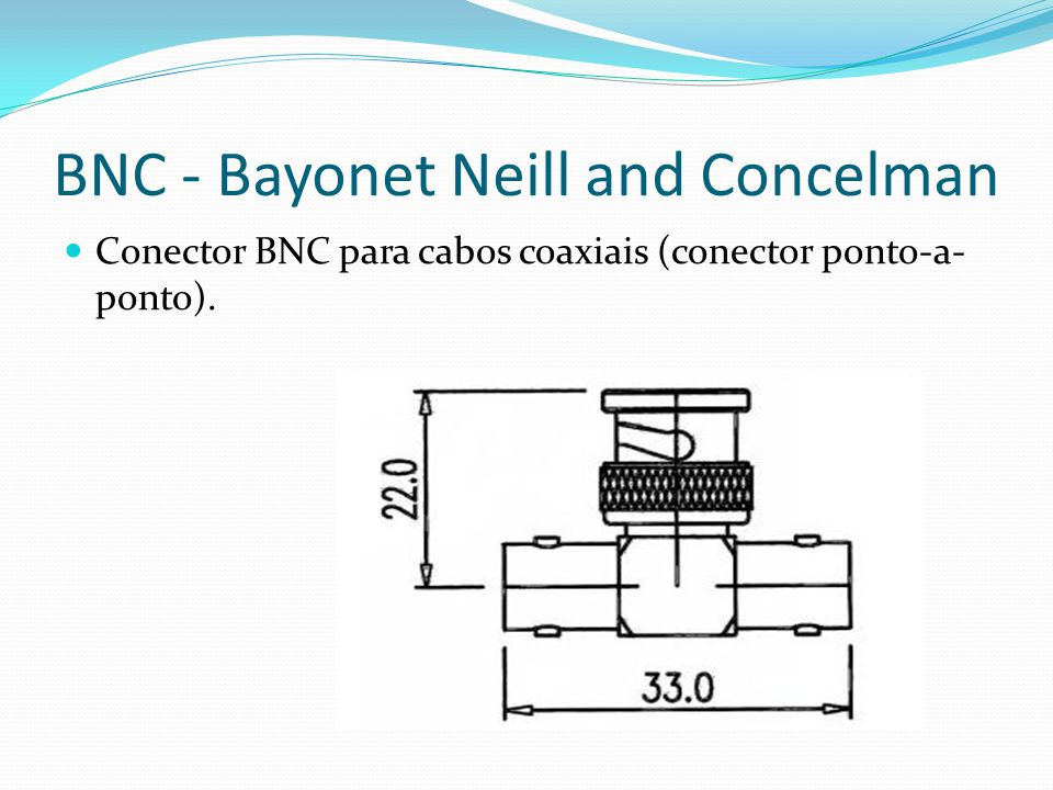 BNC - Bayonet Neill and Concelman Conector BNC para cabos coaxiais (conector ponto-a- ponto).