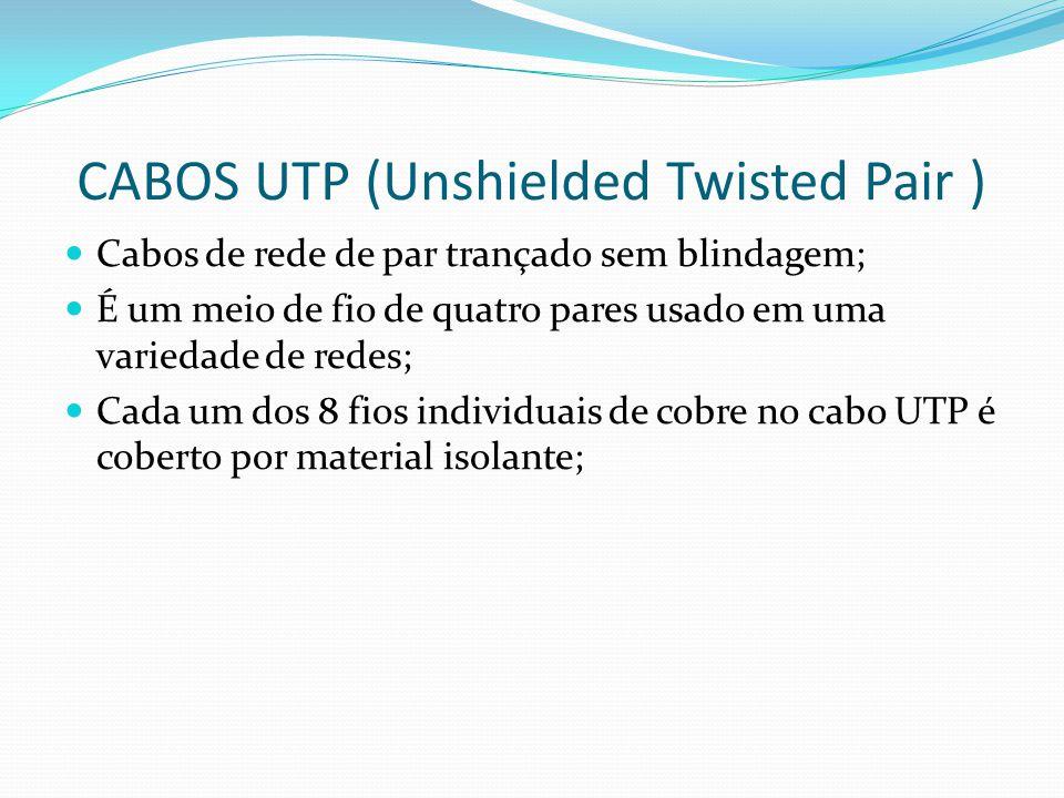 CABOS UTP (Unshielded Twisted Pair ) Cabos de rede de par trançado sem blindagem; É um meio de fio de quatro pares usado em uma variedade de redes; Cada um dos 8 fios individuais de cobre no cabo UTP é coberto por material isolante;