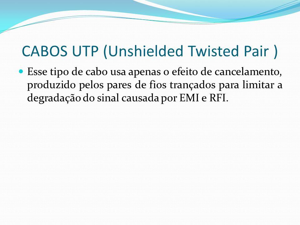 CABOS UTP (Unshielded Twisted Pair ) Esse tipo de cabo usa apenas o efeito de cancelamento, produzido pelos pares de fios trançados para limitar a degradação do sinal causada por EMI e RFI.