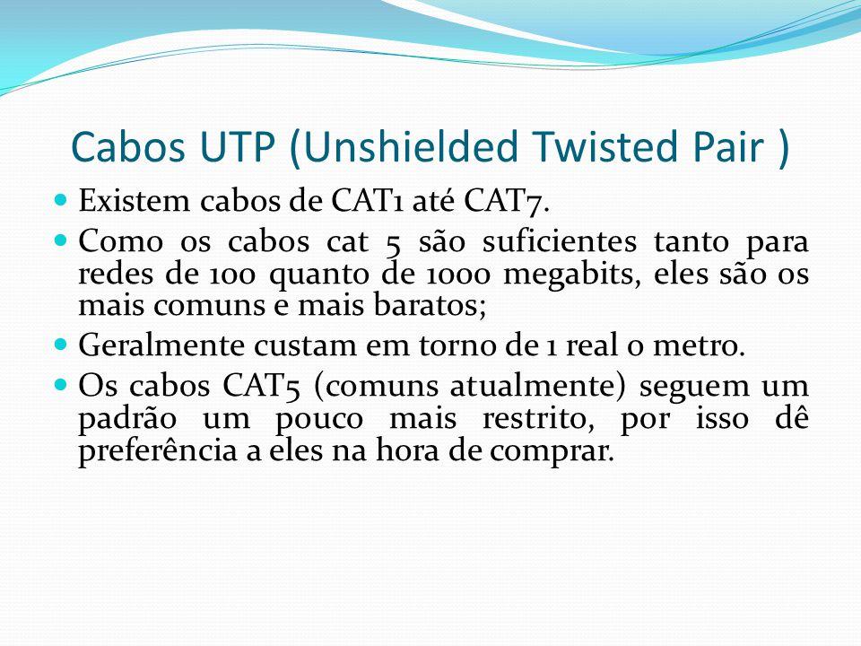 Cabos UTP (Unshielded Twisted Pair ) Existem cabos de CAT1 até CAT7.