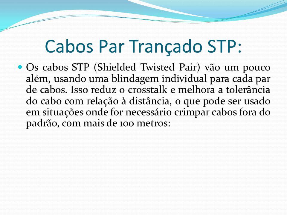 Cabos Par Trançado STP: Os cabos STP (Shielded Twisted Pair) vão um pouco além, usando uma blindagem individual para cada par de cabos.