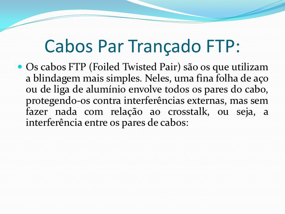 Cabos Par Trançado FTP: Os cabos FTP (Foiled Twisted Pair) são os que utilizam a blindagem mais simples.