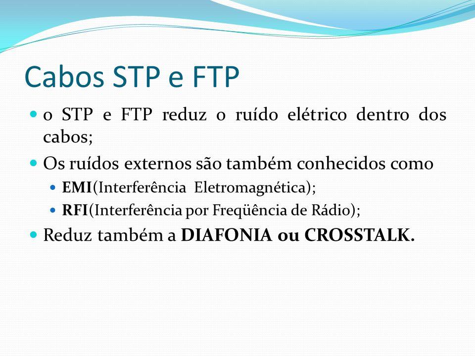 Cabos STP e FTP o STP e FTP reduz o ruído elétrico dentro dos cabos; Os ruídos externos são também conhecidos como EMI(Interferência Eletromagnética); RFI(Interferência por Freqüência de Rádio); Reduz também a DIAFONIA ou CROSSTALK.