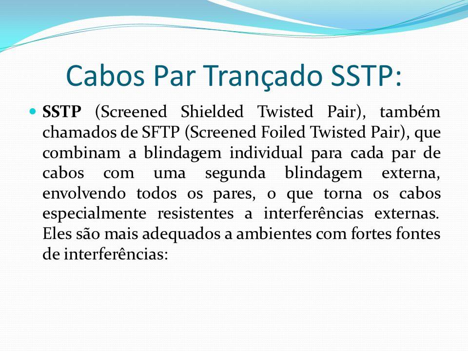 Cabos Par Trançado SSTP: SSTP (Screened Shielded Twisted Pair), também chamados de SFTP (Screened Foiled Twisted Pair), que combinam a blindagem individual para cada par de cabos com uma segunda blindagem externa, envolvendo todos os pares, o que torna os cabos especialmente resistentes a interferências externas.