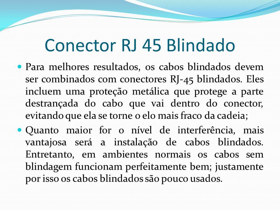 Conector RJ 45 Blindado Para melhores resultados, os cabos blindados devem ser combinados com conectores RJ-45 blindados.