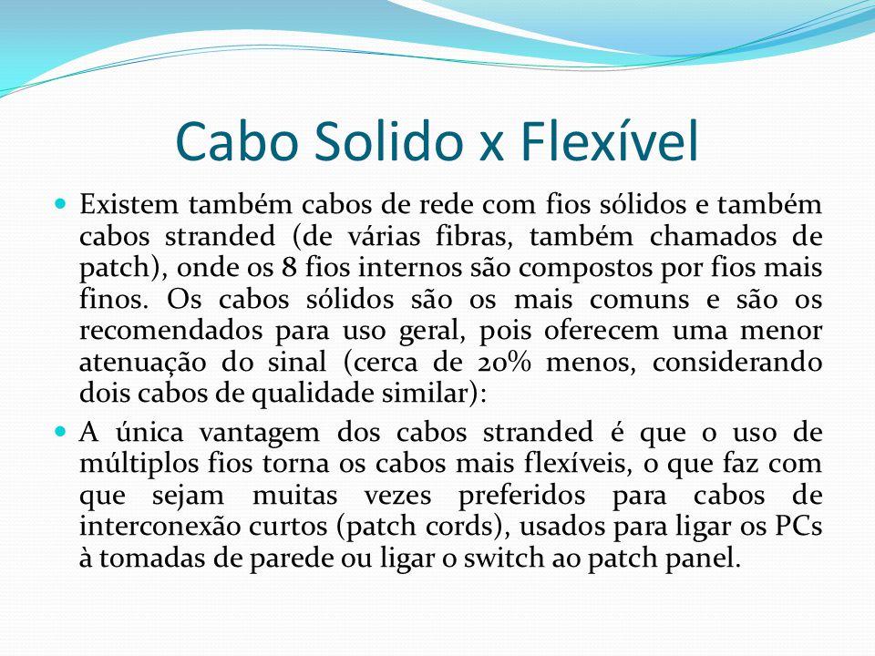 Cabo Solido x Flexível Existem também cabos de rede com fios sólidos e também cabos stranded (de várias fibras, também chamados de patch), onde os 8 fios internos são compostos por fios mais finos.